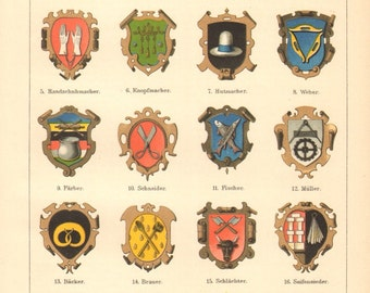 1895 Guild Signs, Merchant and Craft Guilds, Crests of Medieval Associations of Craftsmen and Merchants I. Original Antique Cromolithograph