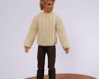 Doll Sweater, Doll Clothing, Male Fashion Doll Sweater, Fashion Doll Clothes, Fisherman Cable Sweater, Aran Sweater, 1/6 Scale Doll Sweater