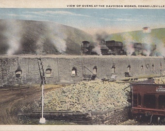 Davidson Works Ovens- 1920s Antique Postcard- Coal Mining- Connellsville, PA- Pennsylvania Industrial History- Randson- Paper Ephemera- Used