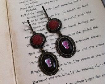 Cameo Dangle Earrings Handmade OOAK Victorian Inspired Jewelry Pink Brown