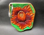 Floral leather keychain , orange leather key ring , custom leather key fob , tooled leather , handmade keychain