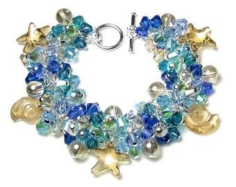 Summer Beach Swarovski Crystal Cluster Silver Charm Bracelet Mermaid Jewelry Aqua Blue Sea Green Ocean Gold Sand Sea Shell Star Fish Bubbles