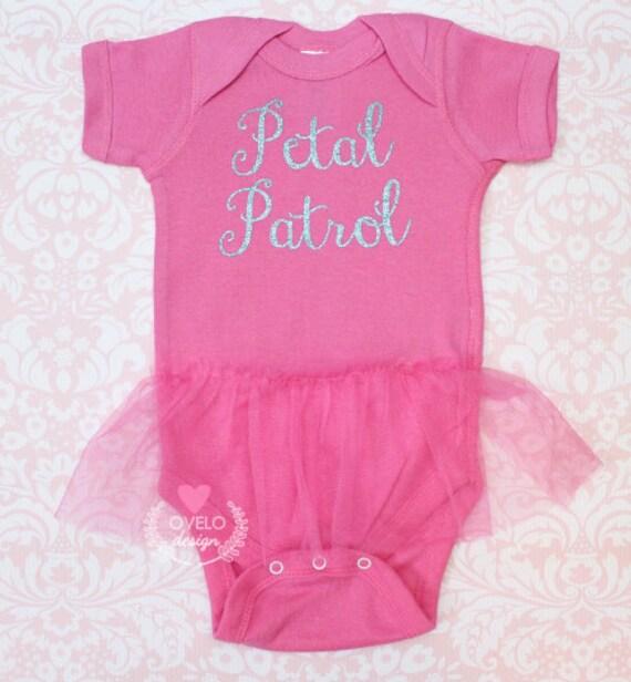 Petal Patrol Flower Girl Ballerina Bodysuit with Tutu Printed in Glitter Pick your Colors