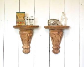 Wooden Wall Sconces Vintage Ornate Carved Shelves or Book Ends Set of Two