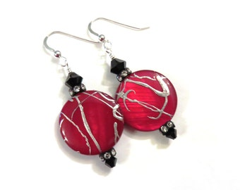 Red Mother of Pearl Earrings, Black Swarovski Crystal Earrings, Red Earrings, Black Earrings, Silver Accented Earrings