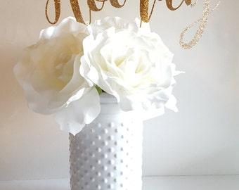 Hooray Cake Topper or Centerpiece: Birthday Decor, Engagement Party, Wedding Decor, Celebratory Decor, Baby Shower, 28 GLITTER COLORS