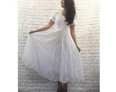Iconic Vintage 90s Sheer Lace Midi Dress S M White Crinkled Full Panel Skirt Grunge Festival