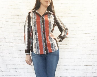 Vintage 60s Wavy Missoni Striped Blouse Tunic Top M L Rust Brown Long Sleeve Pointed Collar