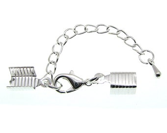 10 Bright Silver Cord Ends with Lobster Clasp & Extender Chain / Ribbon Crimp / Crimp Ends / Fold Over Crimps 75642-3.J2C