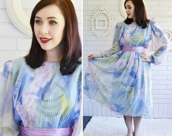 Vintage Pastel Floral Dress with Sheer Sleeves and Sheer Skirt Overlay by Lisa Michaels Size Small or Medium
