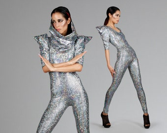 Signature Catsuit in Silver Hologram, Holographic Jumpsuit, Futuristic Fashion, Dance Stage Wear, Ziggy Stardust Outfit, by LENA QUIST