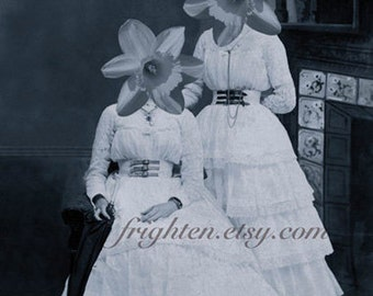 Dark Floral Art, Mixed Media Collage, Daffodil Art Print, Dark Blue Gray, Twin Sister Art, Dark Spring Art