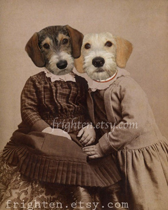 Dog Art, Mixed Media, Sisters Art, 5x7 Print, Dachshund mix, Animals in Clothes, Brown and Tan Art, Anthropomorphic Art