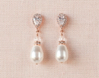 Pearl Drop Bridal Earrings, Rose Gold Wedding Earrings, Swarovski, Bridesmaid Earrings, Emma Earrings