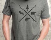 Men's Pine, Bear, Trout, Bighorn Men's T-Shirt - Screen Printed American Apparel T-Shirt - Heather Lieutenant