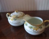 Vintage Sugar Bowl and Creamer Set Hand Painted White Porcelain Gold Trim Made in Japan Nippon Warm Gatherings YourFineHouse SHIPSWORLDWIDE