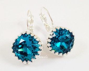 Teal Blue Earrings - Silver Bezel Leverback Earrings Swarovski Crystal Indicolite Cushion Cut Earrings