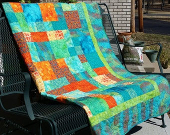 Tropical Island Dreams Caribbean quilt aqua turquoise lime orange coral. Lap Twin Full Daybed. Boho Hippie.