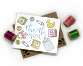 Baby Thank You Collage | Watercolored Illustrated Thank You Card