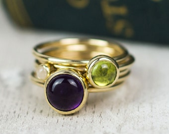 Solid gold stacking ring set - amethyst stacking ring - peridot ring - stacker rings - gold rings - gold ring - stackable Mothers ring set