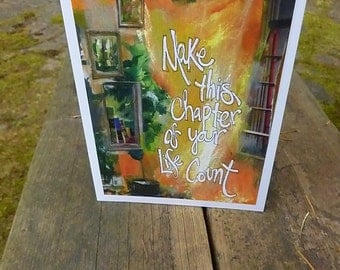 CHAPTER, Birthday Card, Book Lover Card, Librarian Card,Inspirational Card, New Adventure, Mixed Media,Art Card by Seattle Artist Mary Klump