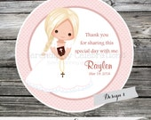 First Holy Communion, Confirmation, Religious, Set of 12 Personalized Favor Tags, Stickers, Thank You Tag, Party Favors, Pink Brown, Lace,