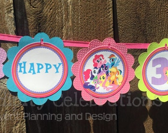 Banner -Personalized Scalloped Word Banner -Pony -Birthday -Baby Shower -Party Banner -Photo Prop -My Little Pony Banner -Friendship Pony