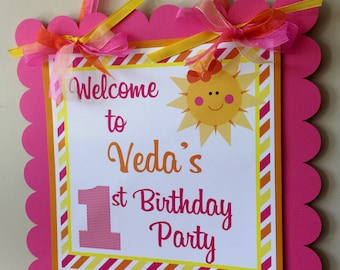 Sun Birthday Sign, Baby Shower, You Are My Sunshine Welcome Sign, Sun Party, Door Sign, Photo Prop, Sun Party Sign, Pink Orange Yellow Sun