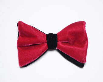 mens vintage velvet bow tie fuchsia black two tone velvet bowtie clip on bowtie 70s 1970 style vintage mens neckwear
