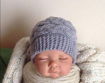 newborn photo prop, lovely cabled beanie, newborn props, newborn girl, baby hat, newborn knit hat, grey hat, knit hats, newborn boy, girl