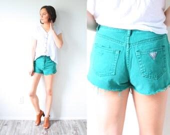 Vintage dark green guess shorts // high waisted cut off jean shorts // distressed cut off shorts // daisy duke shorts // GUESS jean shorts