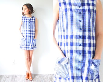 Vintage boho mini plaid dress // blue checkered jumper dress // summer picnic dress // plaid classic retro // XS checkered button down dress