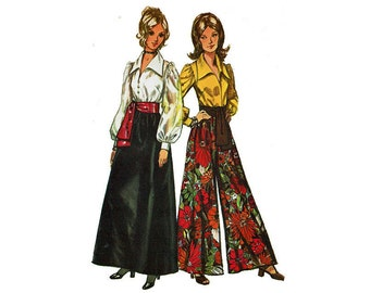 Palazzo wide Leg pants Maxi skirt & Full Sleeve blouse with Collar and Sash 1970s UNCUT Sewing Pattern Simplicity 5235 Size 16 Bust 38 70s