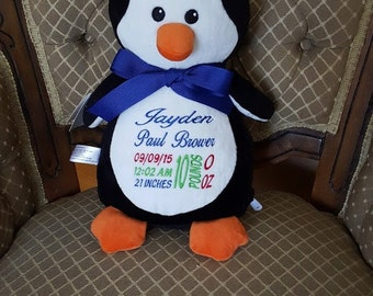Cubbies Penguin Birth Announcement Penguin Cubby Personalized Baby Gift  Big Brother Big Sister Ring Bearer Gift Flower Girl Gift