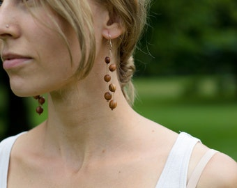 Dangling Wooded Earrings - For an Earthy Bohemian Hippy Women - All natural & Eco Friendly Jewelry