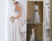 2000s Wedding Dress and Shrug Pattern McCalls M4776 Womens Strapless or Halter Wedding Gown with Train Misses Size 12-18 Bust 34-40