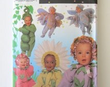 Baby Toddler Costume Pattern Simplicity 5882, Boys Girls Flower Pea Pod Fairy Halloween Costume Sewing Pattern Sizes 6 mo, 1, 2, 3, 4, UNCUT