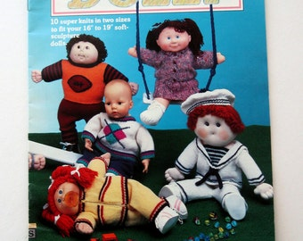 Knitted Doll Clothes Pattern Book, Cabbage Patch & Baby Dolls, 16 17 19 inch Dolls, 10 Outfits, McCalls Knit It for Dolly, 1985