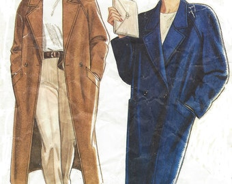 90s Womens Raglan Sleeved Coat Notched Collar Midi Length New Look Sewing Pattern 6201 Size 8 10 12 14 16 18 Bust 30 1/2 to 40 UnCut