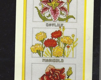 "1980s Counted Cross Stitch Kit ""Flowers of Summer"" by Roger W. Reinardy NIP Kit Design 6"" x 24"" Horizon Designs CS62 Birthday Gift for Her"