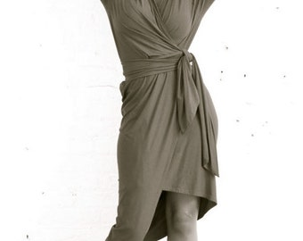 Maria Severyna Slate Grey Cotton Jersey Wrap Dress - Many Colors Available