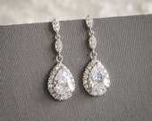 Bridal Earrings, Wedding Earrings, Crystal Dangle Drop Earrings, Zirconia Teardrop Stud Earrings, Modern Vintage Style Jewelry, POLLYANNA