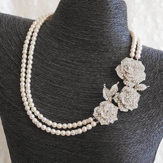 Crystal Bridal Necklace, Vintage Style Swarovski Pearl Wedding Necklace, Art Deco Rose Flower Statement Bridal Wedding Jewelry, ROSELLE