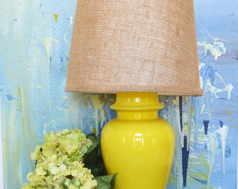 Vintage yellow ceramic lamp: funky bright yellow table lamp yellow home decor midcentury modern