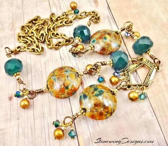 Artisan Lamp Glass, Green Onyx and Gold Freshwater Pearls Necklace