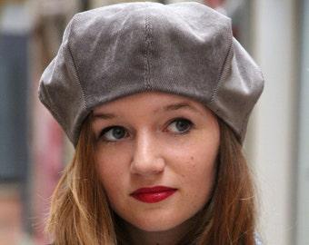 Grey fabric beret. Gray beret. Fabric hat. Womans hat. Slouchy beret. Soft hat. Unique hat. Delisa hat.