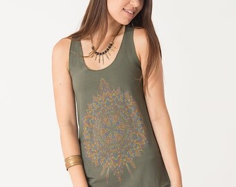 Womens Tank Top, Mandala Top, Green Tank Top, Festival Clothing, Yoga Tops Women, Yoga Wear, Psychedelic Clothing, SOL