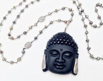 Pave Diamond Beads and Black Budhha Head Necklace, Spiritual Ethnic Necklace, 108 Mala Bead Necklace Zen Buddhist Prayer Beads
