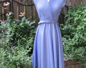 Vintage Violet Petite Purple Disco Dancing Dress with Mini-Accordian Pleated Criss Cross Bust and Matching Belt / Cocktail Dress / Small