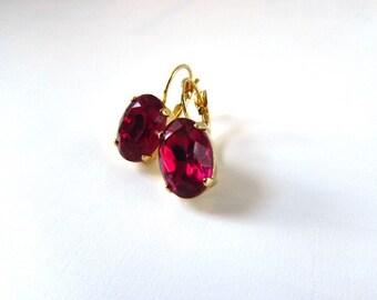 Fuchsia Pink Earrings, Dark Pink Crystal Earring, Regency Earring, Pink Paste Jewelry, Rococco Earrings, Marie Antoinette Jewelry, Magenta